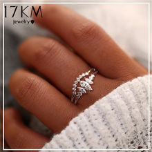 17KM Geometric Design Cubic Zirconia Rings Set For Women Fashion Crystal Rings Statement Female Handmade Bijoux Jewelry Gifts