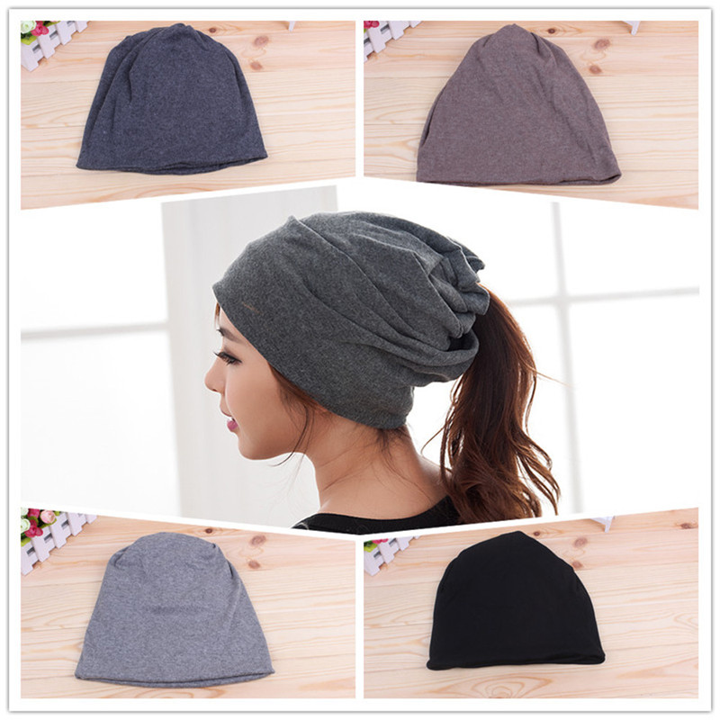 Winter Lady Women Hat Scarf And Hat Head Dual-use Knitted Chic Warm Cap a set of chic rhombus pattern color block knitted hat scarf and gloves for women
