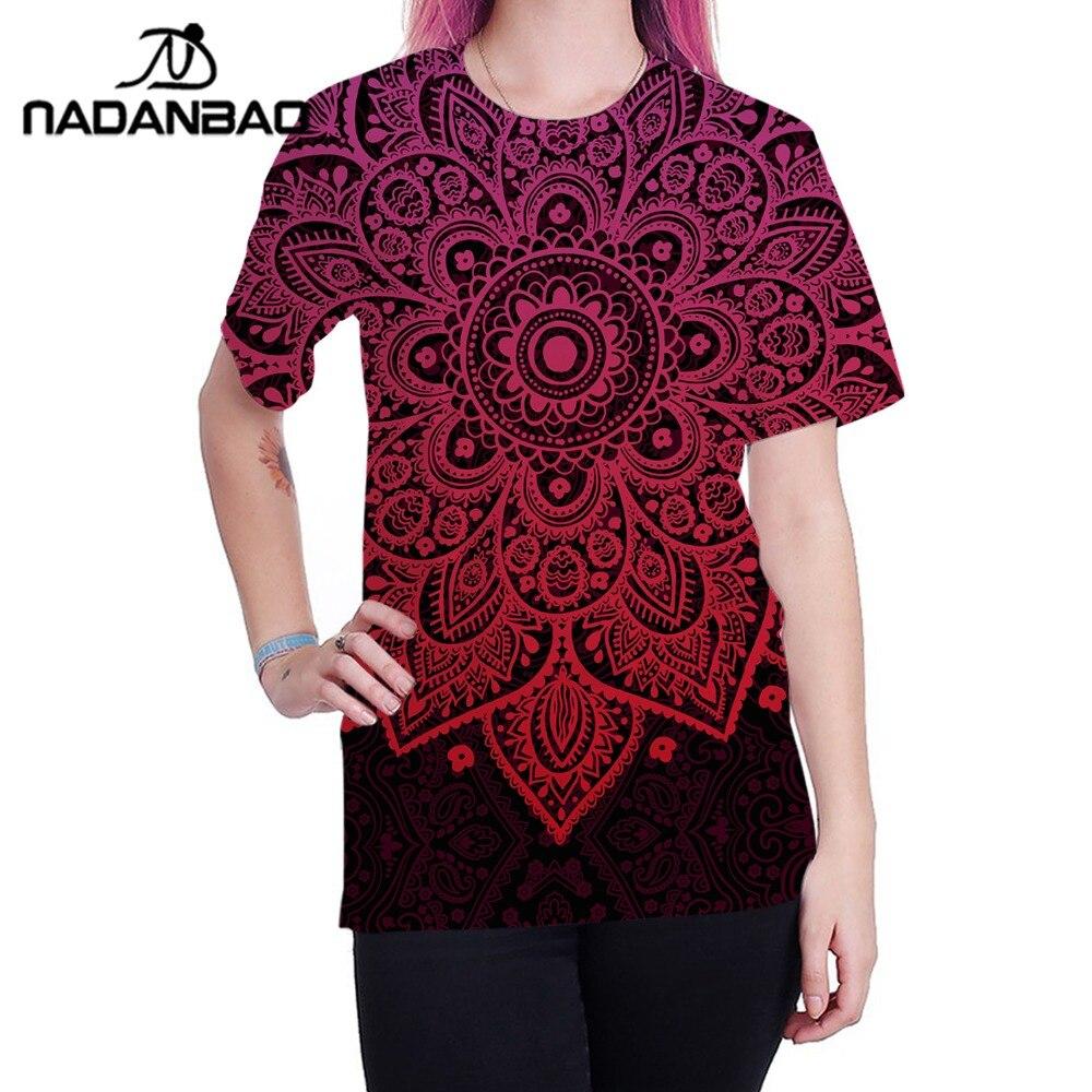 Summer Causal Unsex T-shirt Floral mandala printed short sleeve S-3XL B121-235