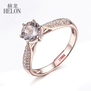 Image 4 - HELON Round Cut 6mm 0.59ct Elegant Morganite Ring Solid 14K Rose Gold Real Diamonds Ring Engagement Gemstone Unique Jewelry Ring