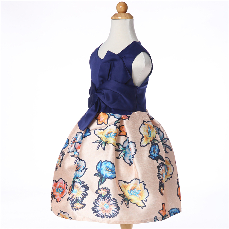 91541d5cfbf9 2019 New Style Baby Girls Summer Navy Blue Floral Dress For Kids ...