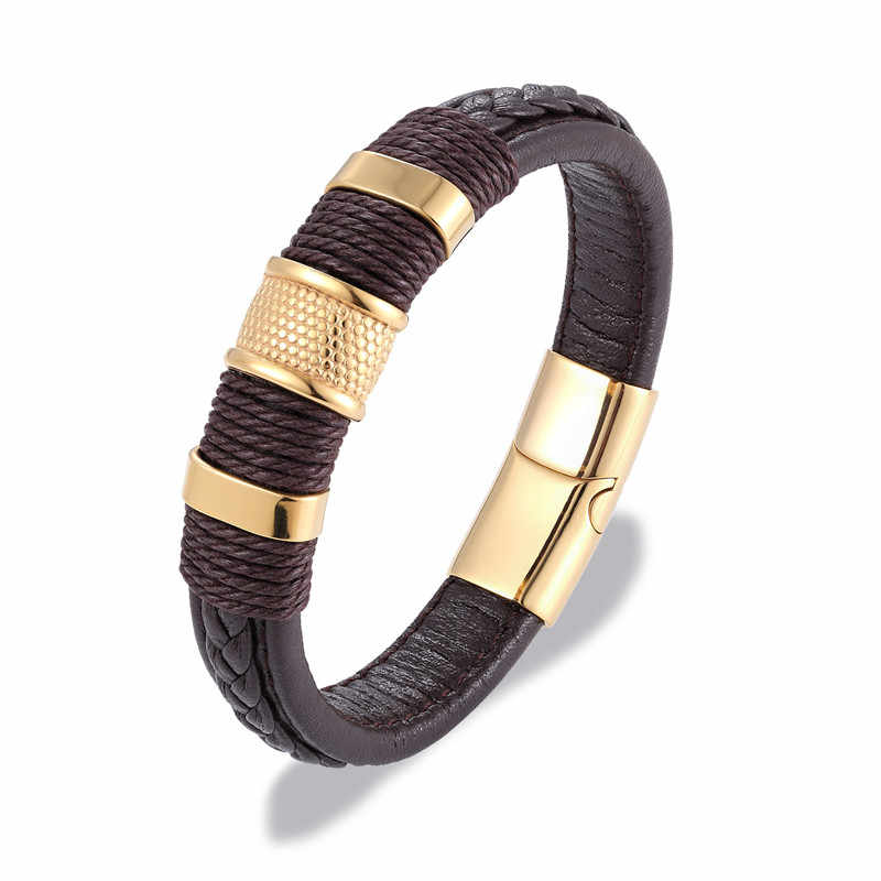 MKENDN ブランド多層編み込み革ブレスレットチタンステンレス鋼磁気降圧ブレスレット男性織バングル Pulseras