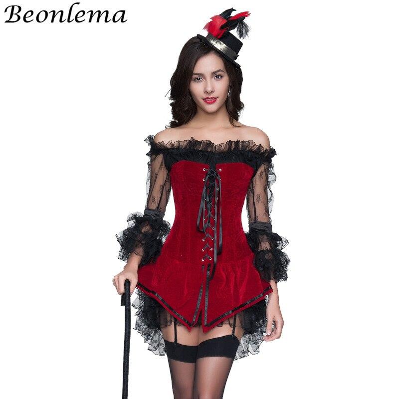 Beonlema Steampunk Clubwear Women Bustiers and Corsets Punk Sexy Red Cosplay Korse Long Overbust Flock Cloth Lolita Dress Corset