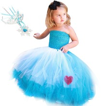 Blue Solid Polyester Mesh Lace Sleeveless Long Evening Dress Girls Alice in Wonderland Clothes for Children Summer Layered