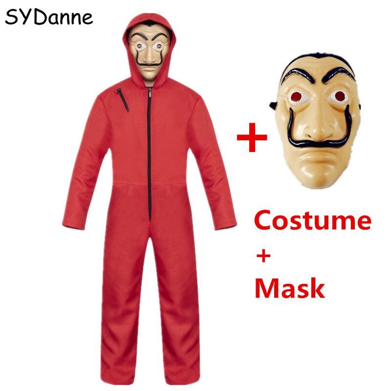 Movie Salvador Dali Cosplay Costume La Casa De Papel Face Fancy Red Jumpsuit Clothes Mask For Women Men Boys Halloween Party
