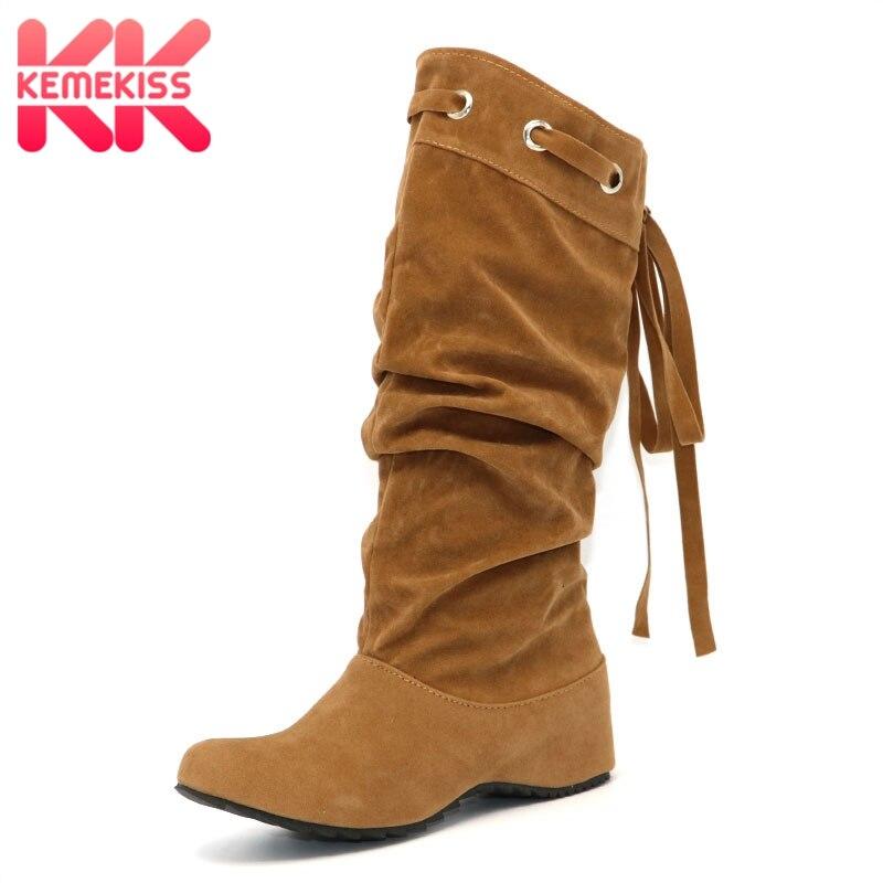 KemeKisswomen flat over knee boots ladies riding fashion long snow boot warm winter brand botas footwear shoes P1501 size 34-43