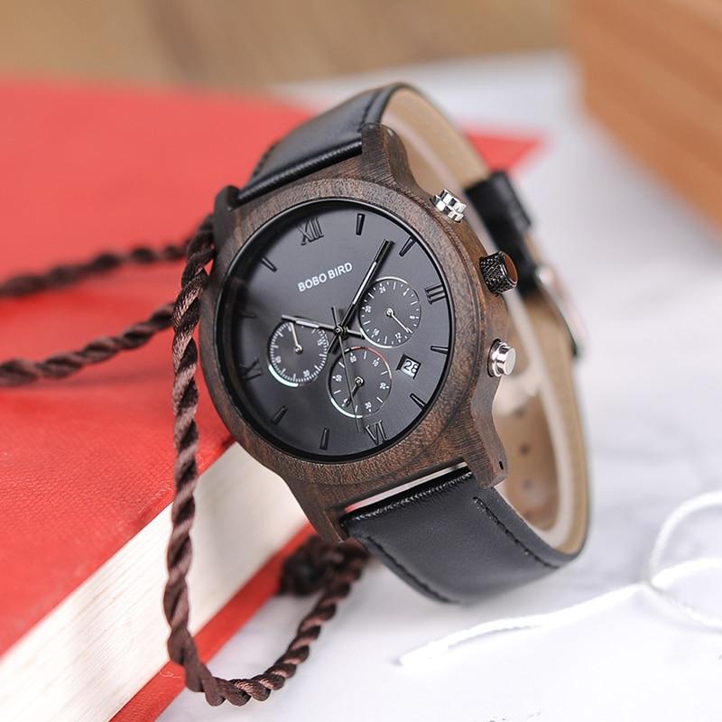 Drewniany zegarek Bobo Bird Luxury P28-1