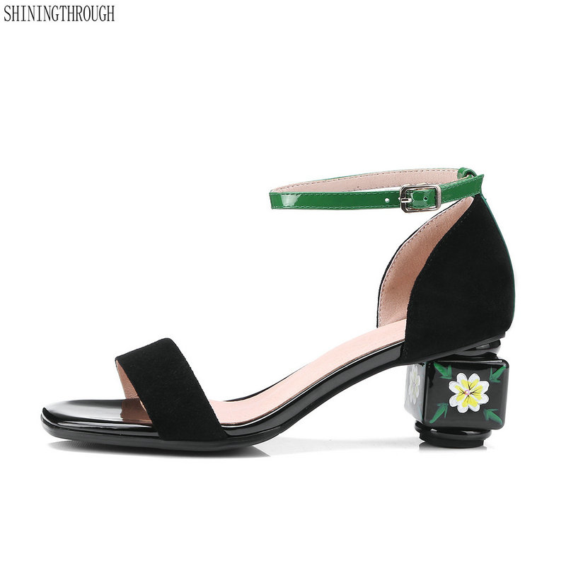 Women genuine leather Sandals 5cm high heels shoes woman black green ankle strap casual shoes woman ladies sandals size 34-43 women sandals fashion low heels sandals for summer shoes woman ankle strap flats sandals shoes soft bottom casual shoes 35 44