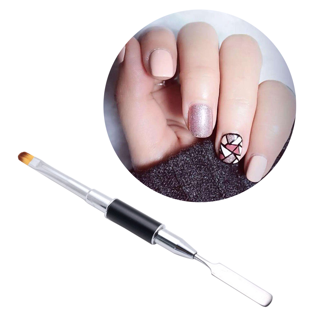1pc Dual-ended Builder UV Poly Gel Nail Brush Nylon Hair and Flat Pusher for Nail Tips Extension Gel Tips Building Carving Pens