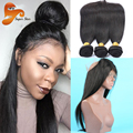 360 Lace Frontal With Bundle Brazilian Virgin Hair Pre Plucked 360 Frontal With Bundles Straight Human Hair With Frontal Closure
