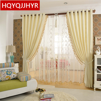 European Style Luxury Solid Blackout Curtains For Living Room High Grade Rice Yellow Velvet Curtains For