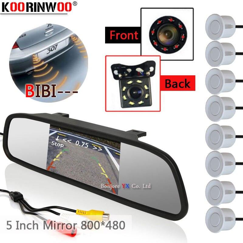 Автомобильный радар заднего хода Koorinwoo Mirror Parkmaster 8, датчик звукового сигнала, Предупреждение ющий сигнал, камера заднего вида Jalousie для парко