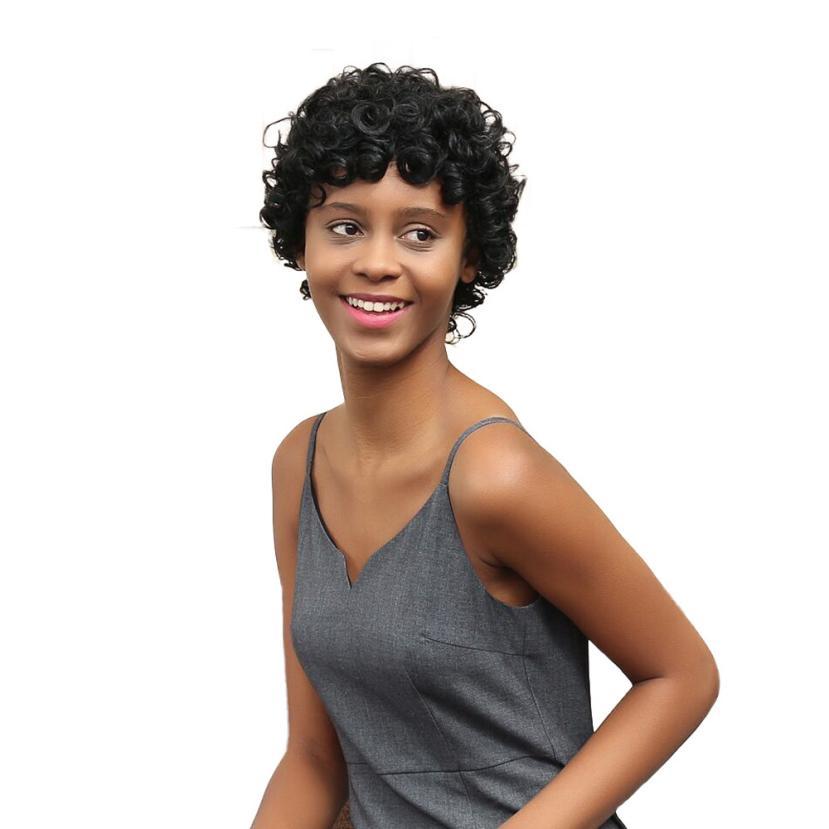 Ninguno de Encaje Frontal Del Pelo humano Corto Pelucas Afro Rizado Rizado Negro corto Para Mujeres Afroamericanas JU7 gota Resistente Al Calor gratis