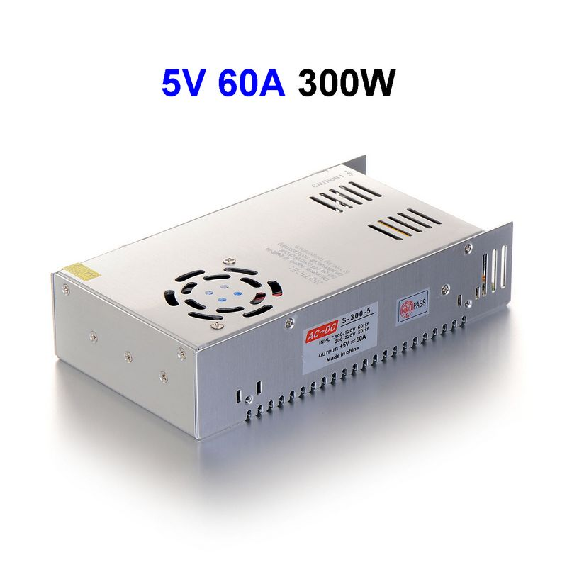 5pcs DC5V 60A 300W Switching Power Supply Adapter Driver Transformer For 5050 5730 5630 3528 LED Rigid Strip Light 5pcs dc5v 60a 300w switching power supply adapter driver transformer for 5050 5730 5630 3528 led rigid strip light