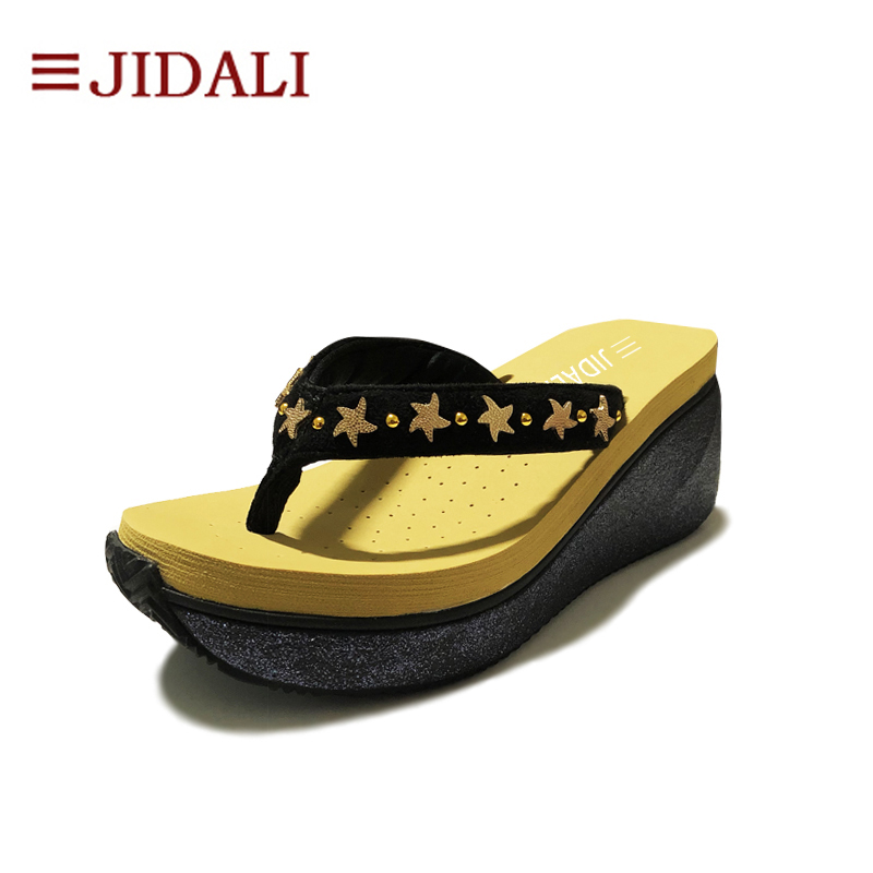 JIDALI Fashion Shoes Women Flip Flop 7cm High Platform Wedges EVA Star Bling Outside Sport Sandals Size 35-40