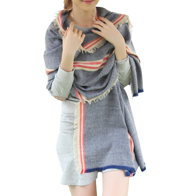 Fashion Elegant Women Winter Warm Blanket Oversize   Scarf     Wrap   Plaid Checked Pashmina Shawl