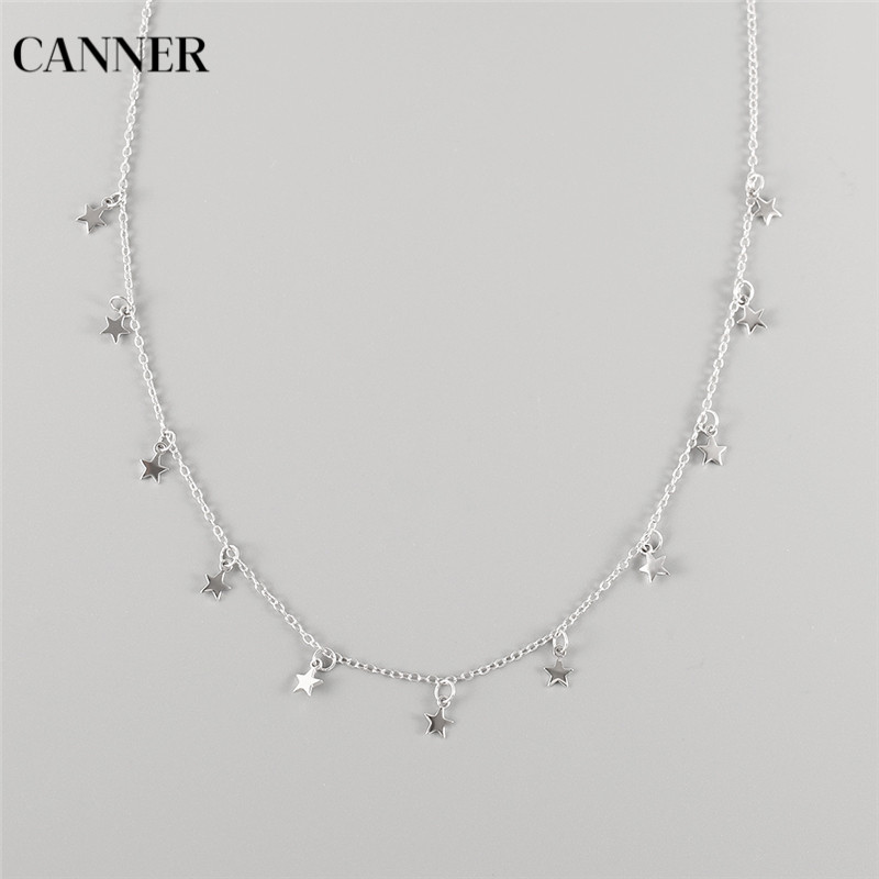 Canner Star Necklace Women Choker 925 Sterling Silver Star Pendant Necklace Bohemian Short Chain Necklace Charm Jewelry