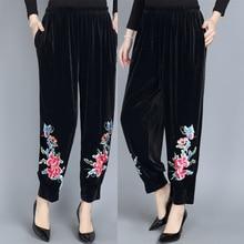 Spring autumn women's embroidery pants elastic waist velvet wide leg pa