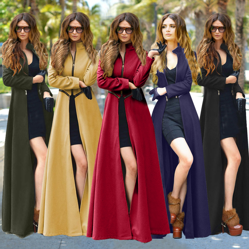 Europe and the United States womens clothing woolen cloth plus-size new winter coat coat X-long woolen cloth fashion jacket