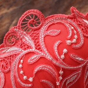 Image 5 - Lilymoda sutiã feminino breve define sexy bordado floral push up cup bra e calcinha sem costura calcinha feminino sutiã lingerie vermelho