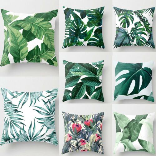 Faroot Floral Tropical Plant Leaves Pillow Case Cushion Cover Rainforest Green Leaves Plants Throw Home Living Room Sofa Decor