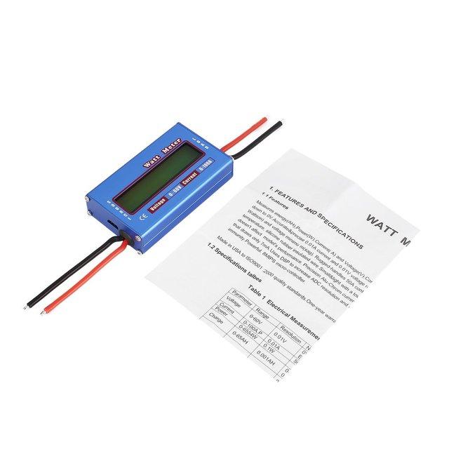 ¡Caliente! Balanza Digital de potencia de voltaje vatios actual medidor de energía Analizador de Checker para RC aviones no tripulados de la batería 60 V 100A Wattmeter