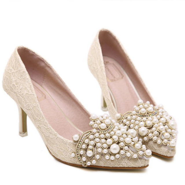 New Fashion Beading Low High Heels Sexy Pointed Toe Ladies Shoes Thin Heel Pumps Shoes High Heel
