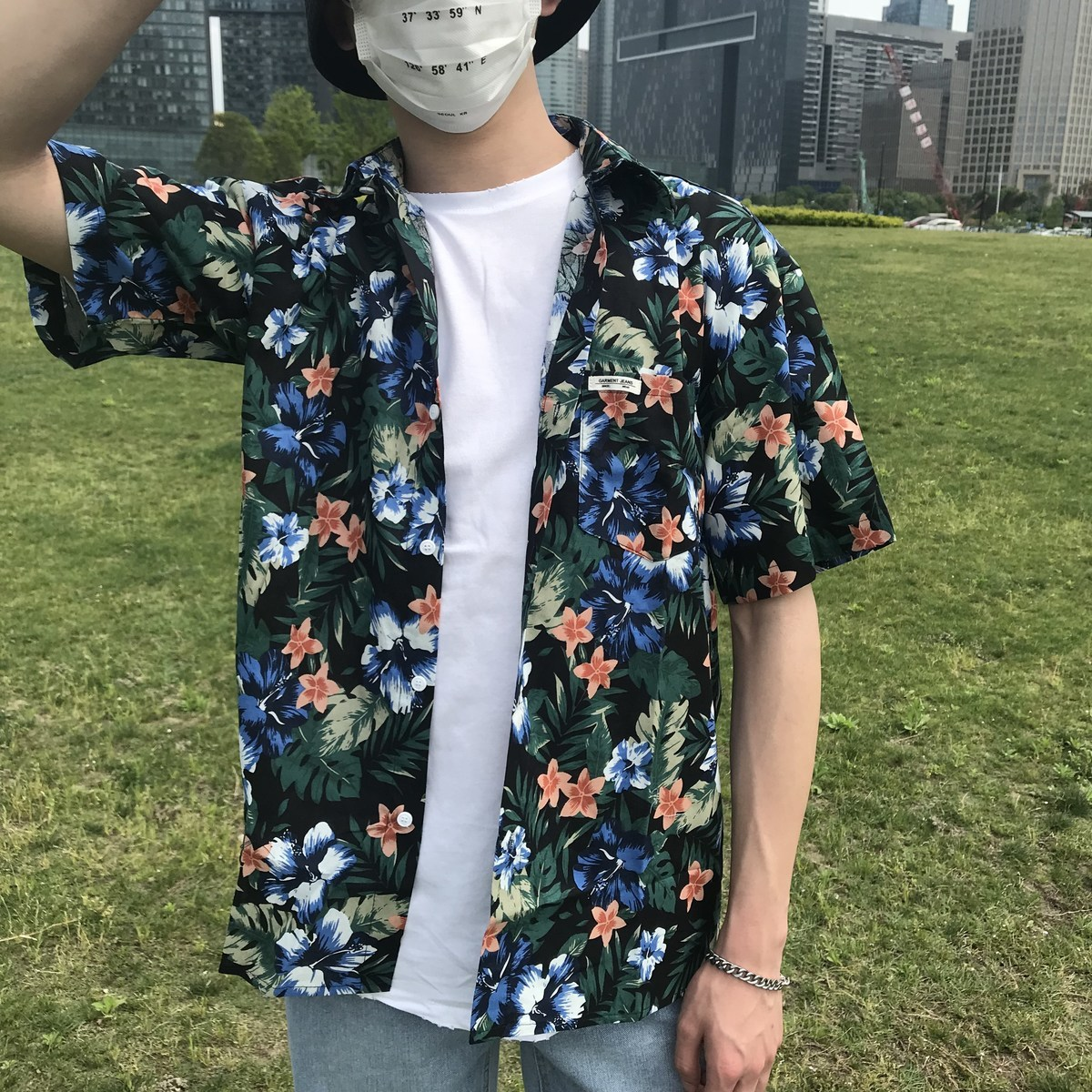 2018 Zomer Nieuw Patroon Jeugd Populair Mode Bloem Afdrukken camisa - Herenkleding