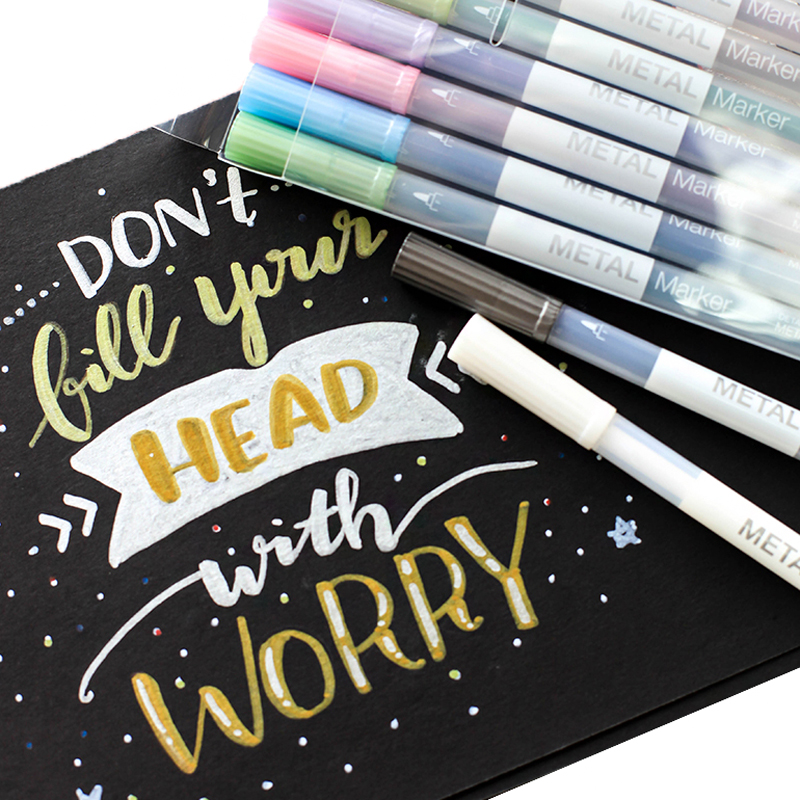 10 Pcs/lot Metal Art Marker Pens Colored Metallic Micron Detailed Marking Drawing Pen For Album Paper Scrapbooking School Supply