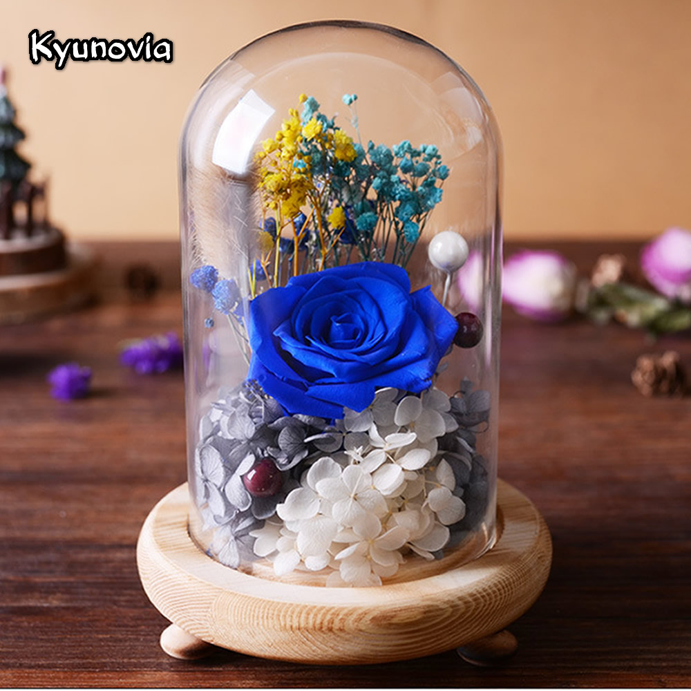 Kyunovia sweet preserved flower gift valentines day birthday gifts kyunovia sweet preserved flower gift valentines day birthday gifts natural dried flowers rose present with glass cover ky52 in artificial dried flowers izmirmasajfo