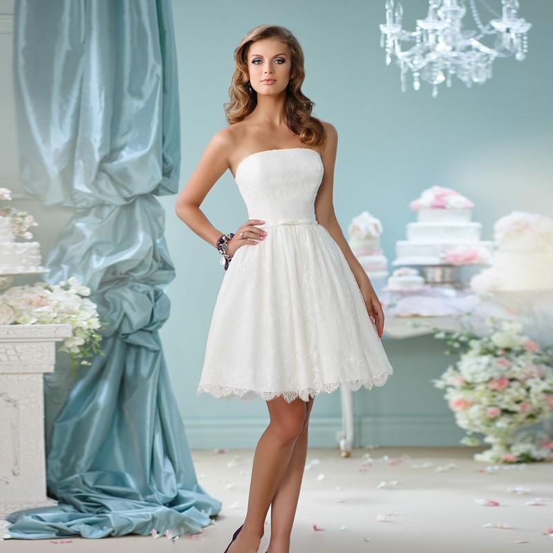 inform newly design a line strapless off shoulder elegant lace bridal gowns short wedding dresses 2016 custom made