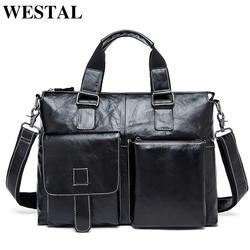 WESTAL мужская сумка через плечо натуральная кожа мужчины сумки на ремне новое старинные ноутбука бизнес мужские дорожные сумки мужчины
