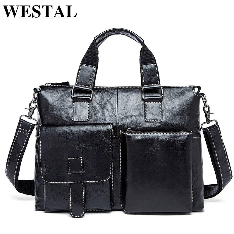 WESTAL мужская сумка через плечо натуральная кожа мужчины сумки на ремне новое старинные ноутбука бизнес мужские дорожные сумки мужчины посыл...