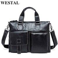 WESTAL business men laptop briefcases bag men's genuine leather bag for 14 laptop male briefcases document bags men leather 260