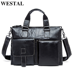 Image 1 - WESTAL mens briefcases mens bags genuine leather laptop bag leather work office bags for men business briefcases bags male 260