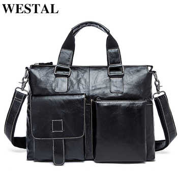 WESTAL men\'s briefcases men\'s bags genuine leather laptop bag leather work office bags for men business briefcases bags male 260 - DISCOUNT ITEM  45 OFF Luggage & Bags