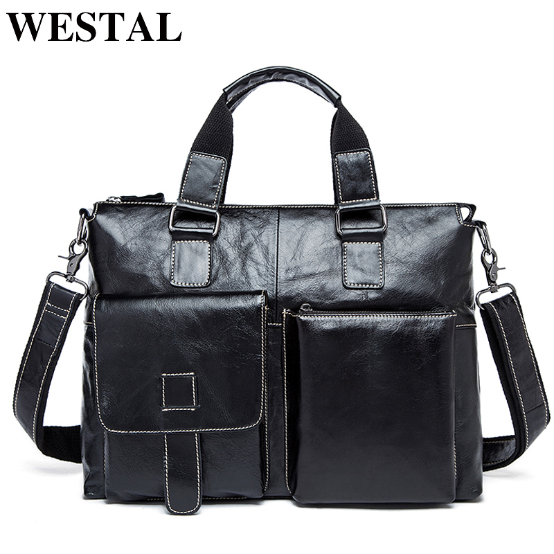 WESTAL Mens Briefcases Bag Men's Genuine Leather Bags For 14 Laptop Bag Leather Male Briefcases Office Bags For Men Totes 260