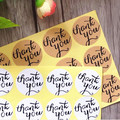120pcs/lot Circular Cursive writing Thank you Adhesive Kraft Seal Sticker for Baking Gift Label Stickers Funny DIY Work