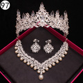Luxury Bridal jewelry sets for Women african beads wedding  jewelry set necklace and earrings crystal crown