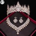 Nupcial de lujo joyería fija para Las Mujeres granos de la joyería de la boda africana set collar y pendientes de cristal corona