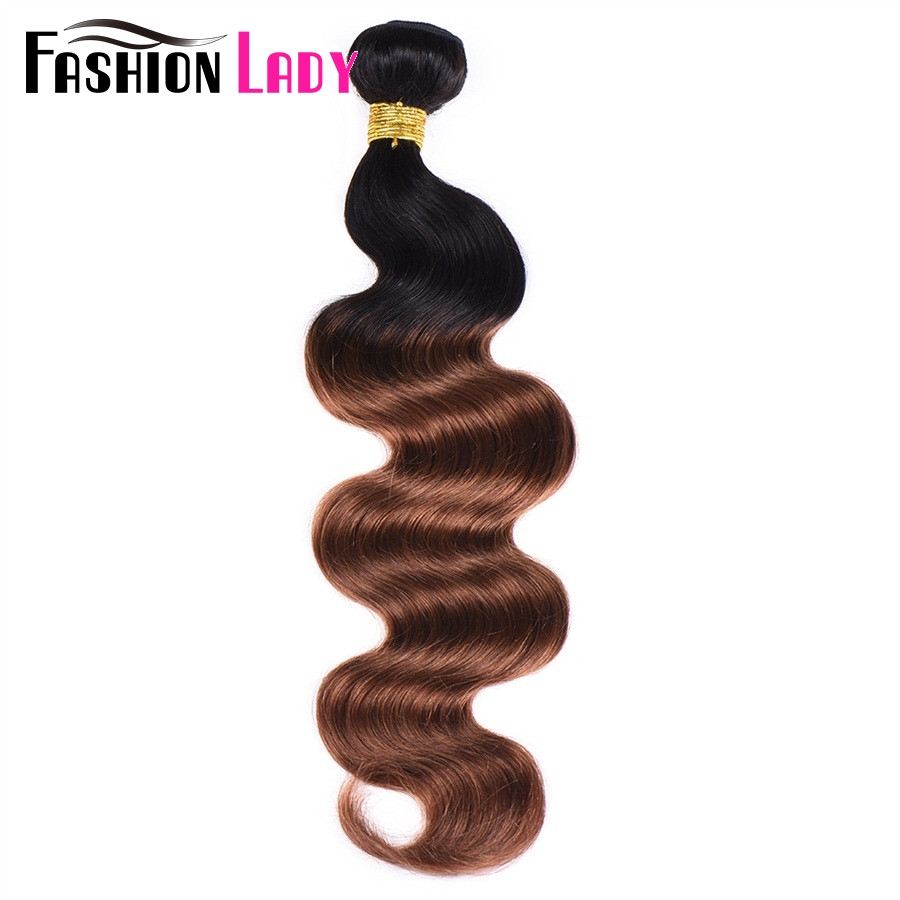 Fashion Lady Pre-Colored Brazilian Ombre Hair Weave Bundles Body Wave Bundles 2 Tone Weave 1b/30 Hair Weave 1PC Non-remy Hair