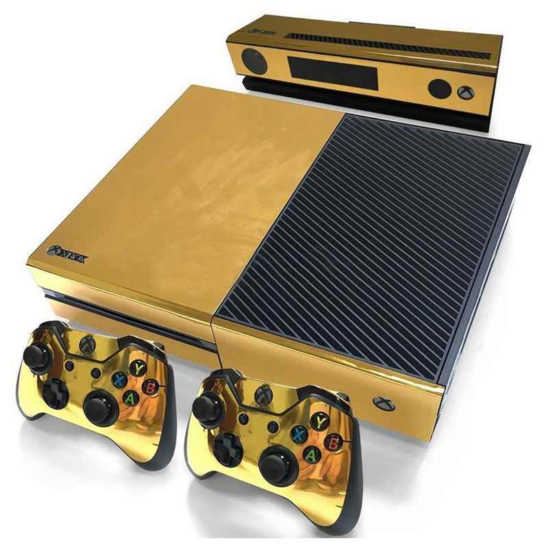 Gold Glossy Skin Sticker For Xbox ONE Console Controller + Kinect Decal Vinyl Compatible with Xbox One console