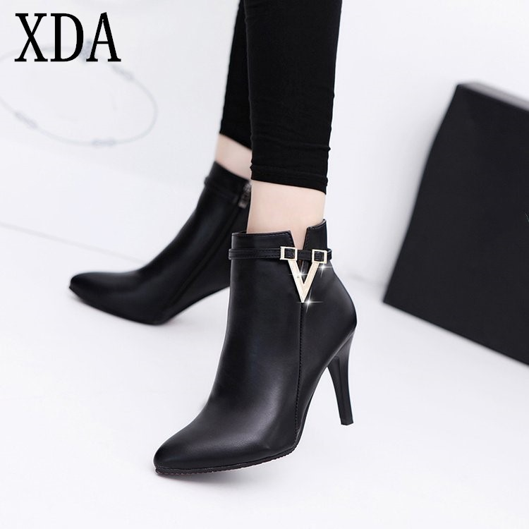 76c9e8e15da7e XDA 2019 fashion Spring Autumn Thin High Heels Pointed Toe martin boots  Faux Leather Zipper Style