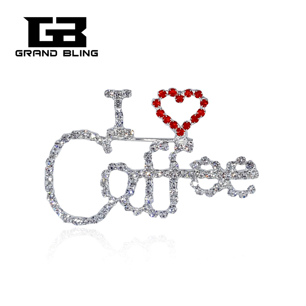 "Bling Bling Rhinestone Jewelry Unique Lapel Pin ""I Love Coffe"" word Pin"