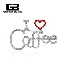 Bling Rhinestone Jewelry Unique Lapel Pin I Love Coffe word