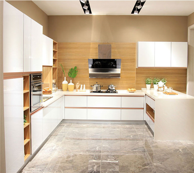 US $4280.0 |Modern Kitchen with open shelves connected island bar  kitchen-in Kitchen Cabinets from Home Improvement on AliExpress