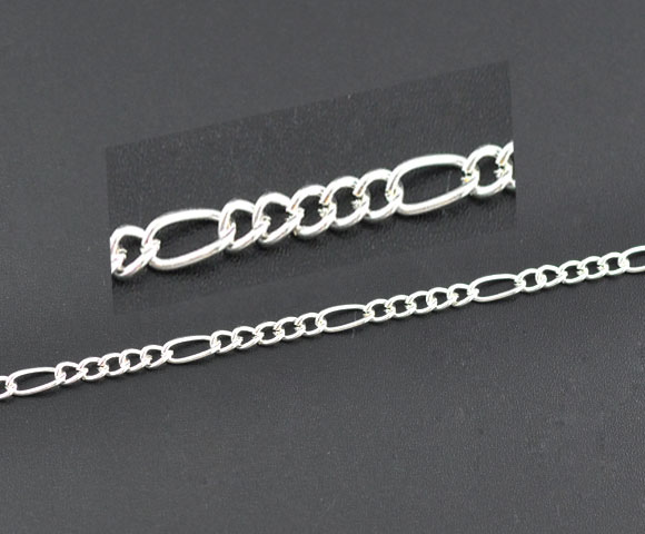 DoreenBeads Alloy Silver color chains 7.5mm x3.5mm( 2/8 x 1/8) 4mm x3.2mm( 1/8 x 1/8), 1 M 2015 new пробка для бутылок paterra силиконовая