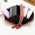 Leather Wallet For Credit Cards Purse Double Zipper Purse For Cover For Student Card Car Document Case Women Money Bag Unisex