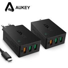 Aukey USB Зарядное устройство Quick Charge 3.0 3-Порты и разъёмы мобильный телефон стены Зарядное устройство для LG G5 Xiaomi Samsung galxy S8 nexus 6 P Apple смартфонов