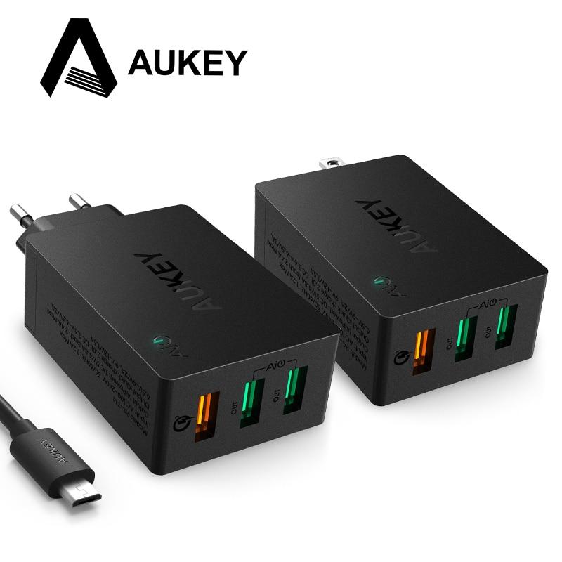 AUKEY USB Chargeur Charge Rapide 3.0 3-Port Paroi Mobile Téléphone Chargeur pour LG G5 Xiaomi Samsung Galxy s8 Nexus 6 P Apple Smartphones